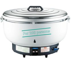Gran cocina de arroz de gas de 30 litros con estirar el recipiente interior de aluminio de 200 personas.