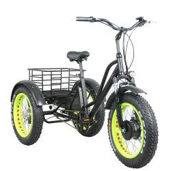 Triciclo eléctrico 48V500W Trike eléctrico de tracción delantera 20''; delantero de los neumáticos de grasa E-triciclo 48V10Ah Li-ion con carga de la cesta de la parte trasera de 3 ruedas de bicicletas eléctricas
