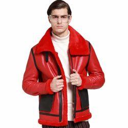 Macho de cuero de oveja Benuine OEM la ropa de invierno rojo Abrigo