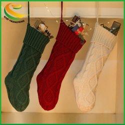 Câble de vacances de Noël personnalisés tricoté en bas de Noël sac cadeau personnalisé cheminée Décoration pour la maison de la famille pendaison d'ensemencement