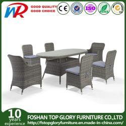 Jardín moderno Rattan muebles de mimbre de resina mesa de comedor
