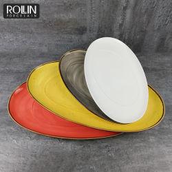 Disco ovale del servizio del ristorante ovale del piatto di colore di banchetto del padellame di Crokery di modo dell'innovazione