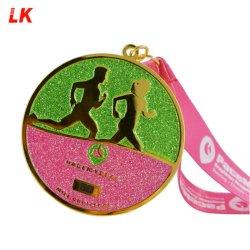 Conception sans émail Glitter Médaille des sports de suivre le métal