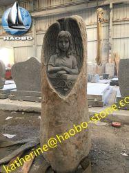 Lastra grave intagliata creativa dritta del monumento del basalto di angelo personalizzata cava della Cina nuova per il bambino popolare in Germania