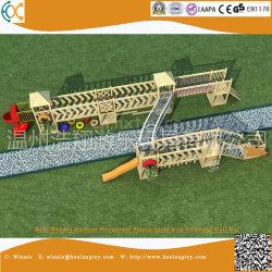 Madeira para crianças parque ao ar livre Plástica com parede de escalada Net