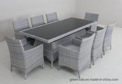 Jardin meubles de patio extérieur chinois en rotin Table à manger en osier fixe