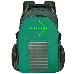 Resistente al agua, luz de giro de la señal de ciclismo de puerto de carga con panel solar Mochila mochila de viaje RS190203