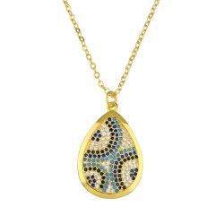 カスタムハンドメイドの方法銅の宝石類18Kの金によってめっきされるトルコ石のネックレス