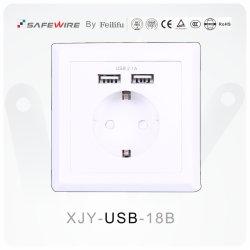 Пк материал европейского Schuko 2.1A и два порта USB