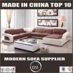 Cuero auténtico y sofá de esquina en forma de U para Salón