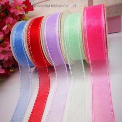 Fabricación de alta calidad china Mayorista de más colores de cinta de nylon cosido Sparkle Organza