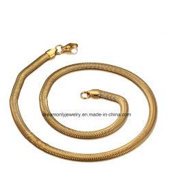 Желтый позолоченный плоские змеи в технологической цепочке из нержавеющей стали