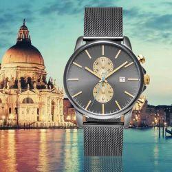 Роскошный Мужской часы водонепроницаемые наручные часы календаря с сетчатой ленты (72110)