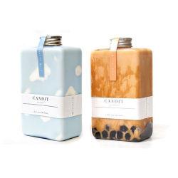 flache quadratische Raum-Flaschen-Plastikgetränkeflasche des Haustier-300ml mit Überwurfmutter Hpp