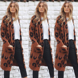 new Leopard Knitted Jacket 소녀 숙녀 외투 카디건 여자의 모직 스웨터
