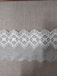 Lavoro a maglia del merletto/accessori per il vestiario di lavoro a maglia del filo di ordito del merletto della frangia del ciglio del nero del commercio all'ingrosso del punto dei materiali