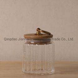 Ensemble de la vente de verre scellé de stockage portable Jar/récipient avec couvercle en bambou
