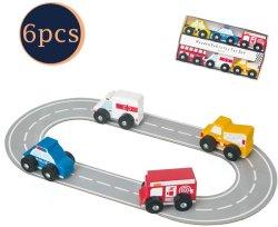 Les véhicules en bois jouet-6-pièce Mini jouet ensemble avec des voitures et véhicules de camions
