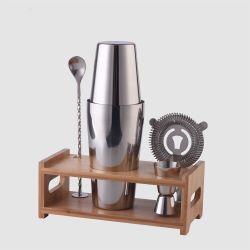 304 utensili da bar in acciaio inox Boston barman cocktail shaker Bar Set di attrezzi con supporto in legno di bambù