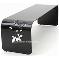 Custom negro acrílico talladas a mano mesa de café (BTR-Q1013)
