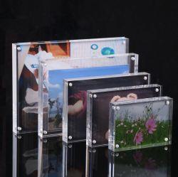 Cadre Photo en acrylique clair libre Bureau permanent d'affichage photo magnétique double face