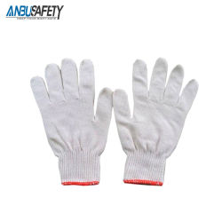 Commerce de gros a blanchi le blanc des gants de coton tricotés à la sécurité