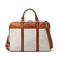 O design da marca elegante computador portátil de couro de lona bag bolsa de negócios de ombro homens maleta de couro