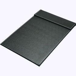 Schwarze lederne Schreibens-Auflage des Schreibtisch-A4/Unterzeichnung-Notizblock