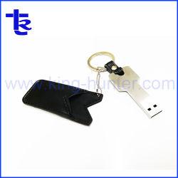 Pouce en cuir avec la clé de la forme d'entraînement de la clé USB