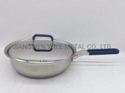 24cm de Acero Inoxidable Sartén, Freír Pan, Utensilios de Cocina, Silicona