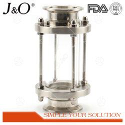 A extremidade da braçadeira de aço inoxidável, vidro de inspecção sanitária