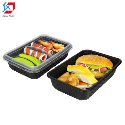 De zwarte Beschikbare Container Van uitstekende kwaliteit van het Voedsel 750ml van het Voedsel Plastic voor de Groenten van de Rijst van het Vlees