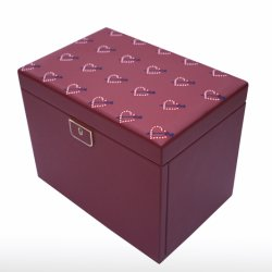 Cuir de luxe Grand Cufflink Cas des boîtes de liaison du brassard Bangle feux coffret à bijoux de grande taille PU Étui en cuir avec broderie