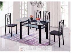 현대적인 다이닝 테이블과 의자 디자인 유리 다이닝 테이블 금속