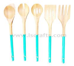 Кухня Untensil бамбука наборы столовых приборов с цветной ручкой для приготовления пищи