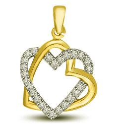 18k Gold sobre 925 jóias de prata Coração Duplo Pingentes de Prata