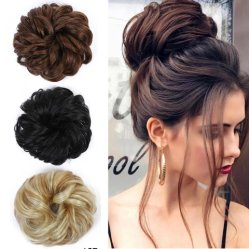 Ciambella ciambella riccia Ponytail capelli elastico Chignon Scrunchie estensione capelli Per le donne