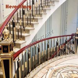 Villa Decorative Stair Geländer und schwarz +Golden Farbe Aluminium Stair Handlauf