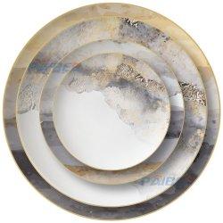 Hotel-Gaststätte-Lebesmittelanschaffung-Goldfelgen-Knochen-Aufladeeinheits-Platte, großer Teller, Abendessen-Set