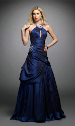 Темно-синяя шарик Платье вечернее платье В.Путин валика клея из тафты Prom Backless платья коктейль-платье