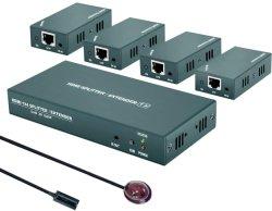 مقسم موسع HDMI طراز 1X4 مع الأشعة تحت الحمراء وHD 1080p بمعدل 60 هرتز، وإرسال رباعي القنوات حتى 165 قدمًا (50 مترًا) عبر Cat5e/CAT6/Cat7، (مخرج 1 في 4)