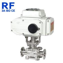 Three-Piece RF cierre eléctrico de la válvula de bola de acero inoxidable sanitario