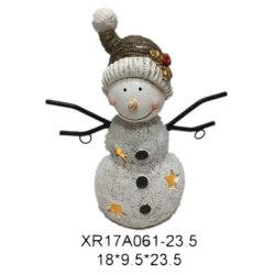Festival Polyresin cadeau de Noël Bonhomme de neige de résine de lumière à LED de l'artisanat