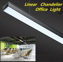까만 백색 색깔 사무실 샹들리에 LED 직사각형 펀던트 점화를 가진 LED 현대 호리호리한 LED 선형 중단된 점화