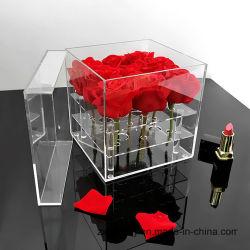 Handmade 9 cas d'affichage de fleurs roses en acrylique avec couvercle