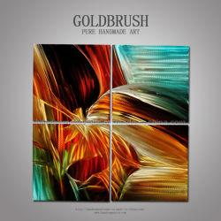 Colore giallo di Abstrat, arancio, pittura originale moderna del metallo di Blue&Black