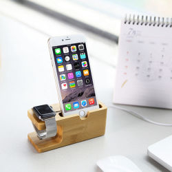 100% Holz Made Eco-Friendly Handy Stand 2 in 1 Wooden Desktop Holder für Apple Watch