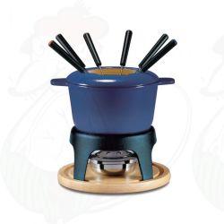 Insieme blu della fonduta di formaggio dello smalto con la singola maniglia