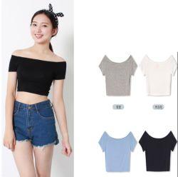 La fábrica de moda tejidos ropa de manga corta de algodón de cultivo de las mujeres Tops