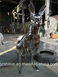 Aço inoxidável canguru, jardim exterior de aço inoxidável ornamento Arte Animal